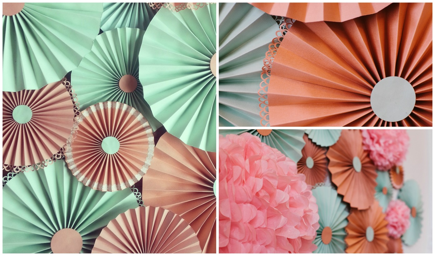 paper rosettes and poms